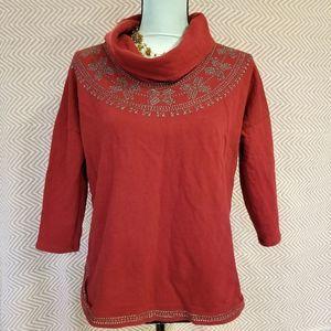 Lucky Brand Metallic Aztec Cowl Sweater Burgundy S